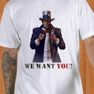 Batman T-Shirt Uncle Sam White