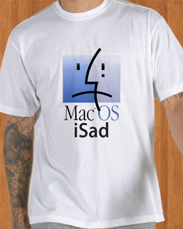 Mac OS iSad T-Shirt Steve Jobs RIP