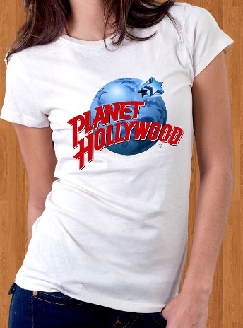 Planet hollywood t shirt white women for Planet hollywood t shirt
