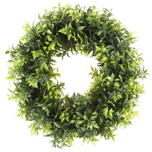 Artificial Round Wreath Opal Basil Leaf.  Best Farmhouse Decoration Under $50 at Amazon