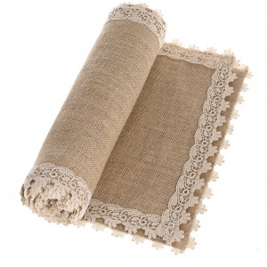 Burlap Cream Lace Table Runner.  Best Farmhouse Decoration Under $50 at Amazon