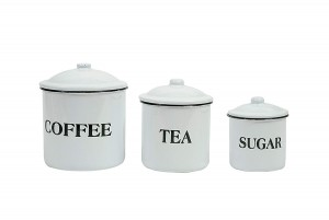 Coffee Tea Sugar Enamel Metal Containers.  Best Farmhouse Decoration Under $50 at Amazon